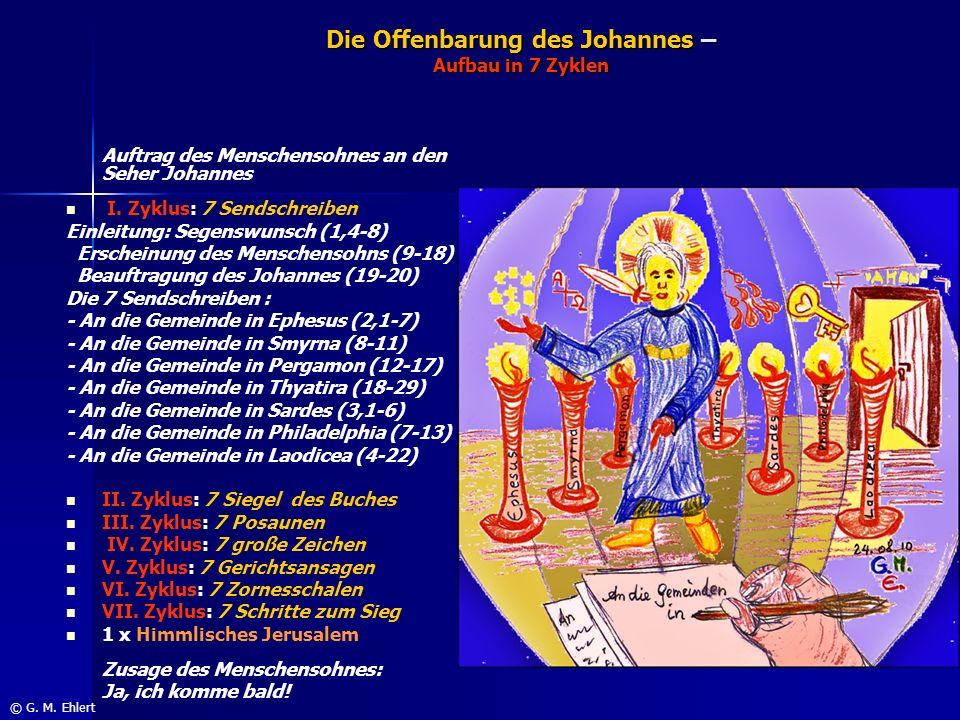 Die Offenbarung des Johannes – Aufbau in 7 Zyklen Auftrag des Menschensohnes an den Seher Johannes I. Zyklus: 7 Sendschreiben Einleitung: Segenswunsch