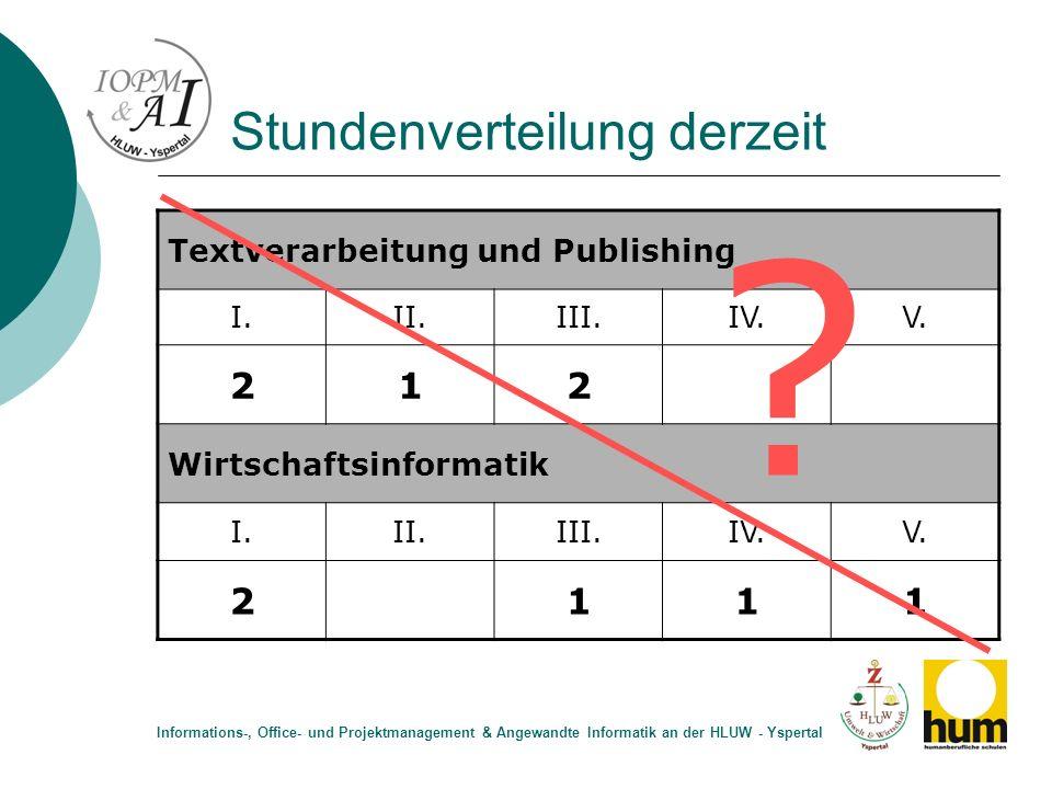 Stundenverteilung derzeit Textverarbeitung und Publishing I.II.III.IV.V. 212 Wirtschaftsinformatik I.II.III.IV.V. 2111 Informations-, Office- und Proj