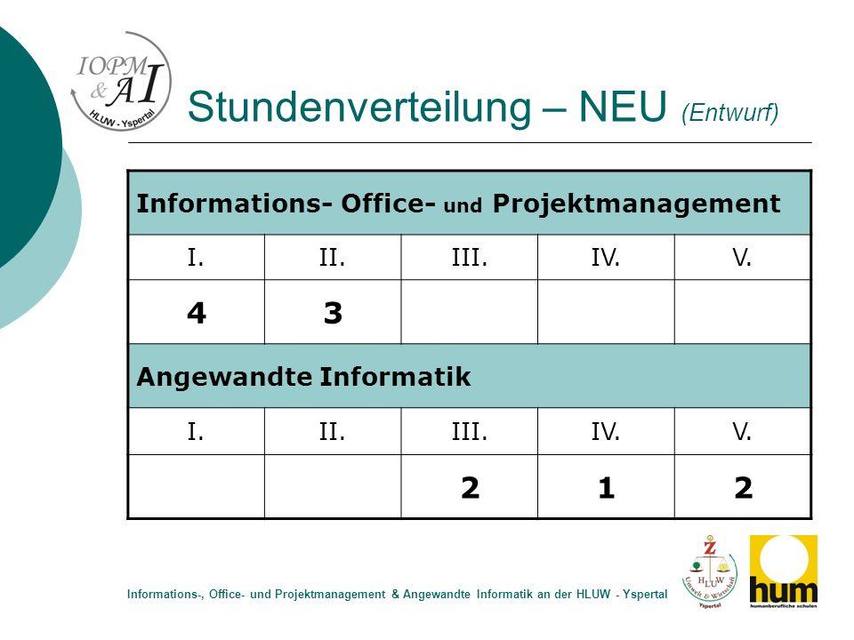 Stundenverteilung – NEU (Entwurf) Informations- Office- und Projektmanagement I.II.III.IV.V. 43 Angewandte Informatik I.II.III.IV.V. 212 Informations-