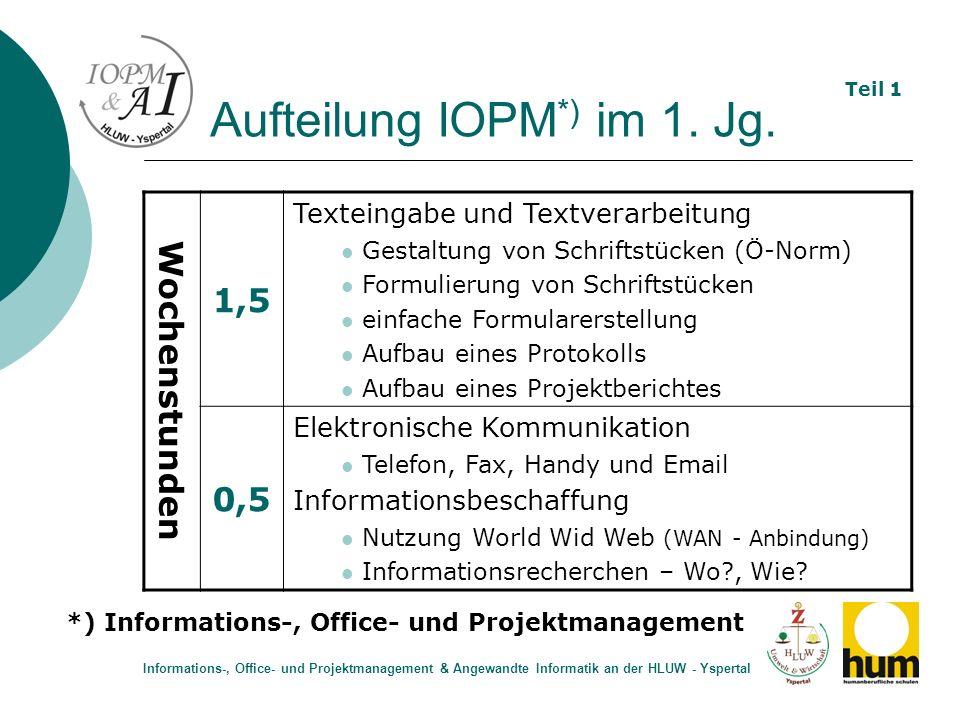 Aufteilung IOPM *) im 1. Jg. Wochenstunden 1,5 Texteingabe und Textverarbeitung Gestaltung von Schriftstücken (Ö-Norm) Formulierung von Schriftstücken