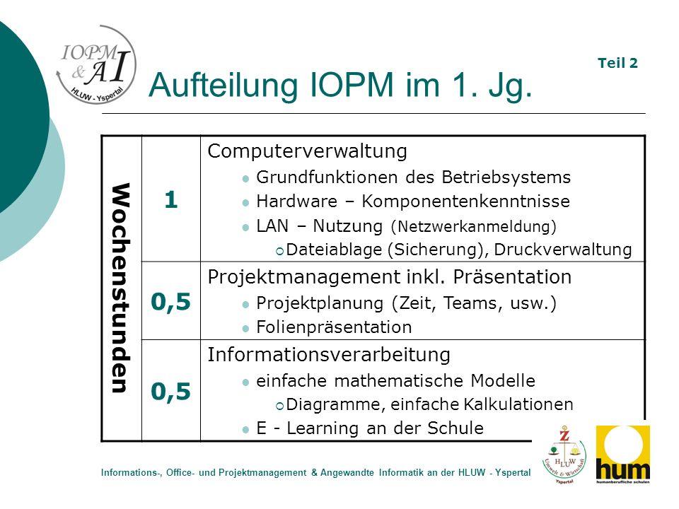 Aufteilung IOPM im 1. Jg. Wochenstunden 1 Computerverwaltung Grundfunktionen des Betriebsystems Hardware – Komponentenkenntnisse LAN – Nutzung (Netzwe