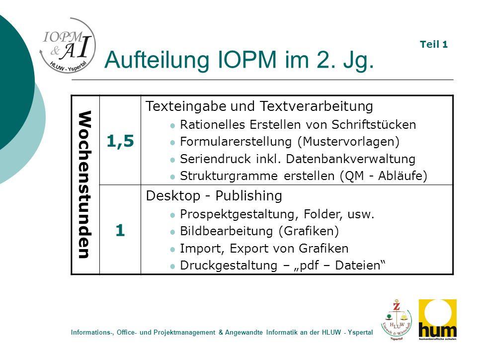 Aufteilung IOPM im 2. Jg. Wochenstunden 1,5 Texteingabe und Textverarbeitung Rationelles Erstellen von Schriftstücken Formularerstellung (Mustervorlag