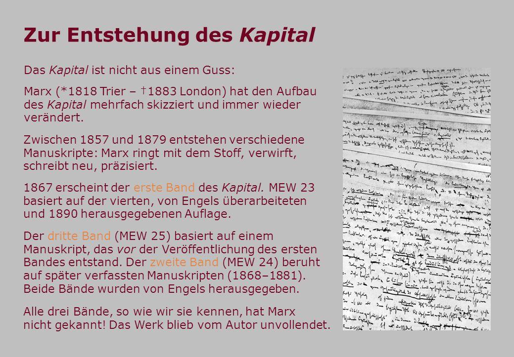 Zur Entstehung des Kapital Alle drei Bände, so wie wir sie kennen, hat Marx nicht gekannt! Das Werk blieb vom Autor unvollendet. Das Kapital ist nicht