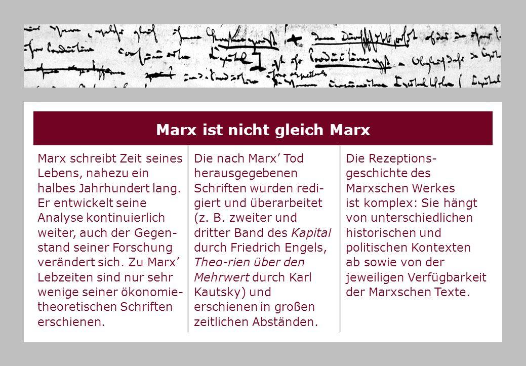 Marx ist nicht gleich Marx Marx schreibt Zeit seines Lebens, nahezu ein halbes Jahrhundert lang. Er entwickelt seine Analyse kontinuierlich weiter, au