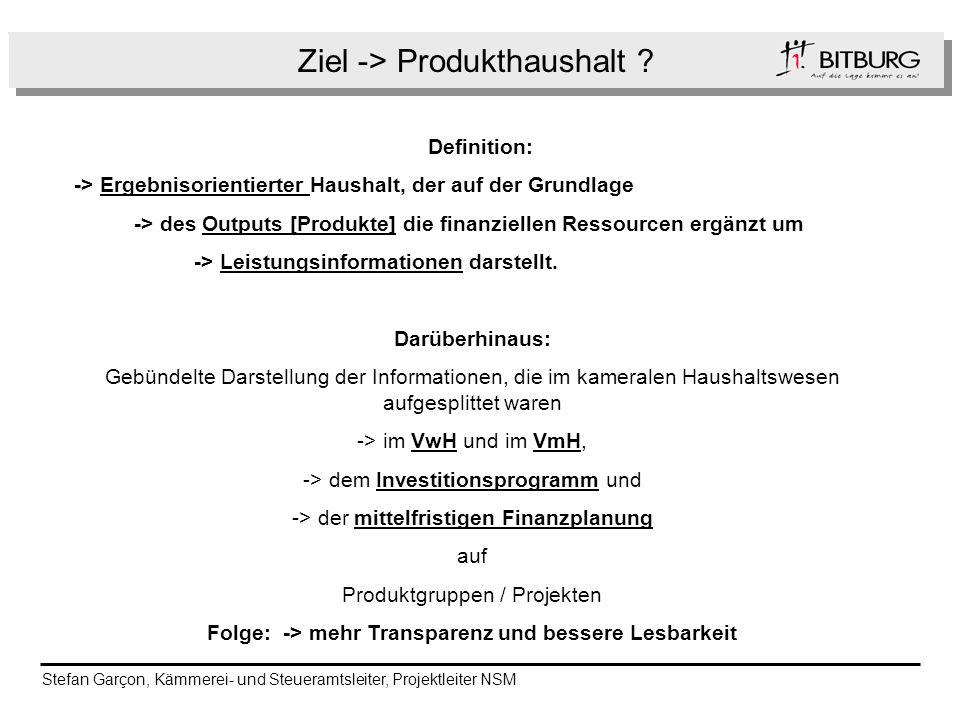 Ziel -> Produkthaushalt ? Folge Definition: -> Ergebnisorientierter Haushalt, der auf der Grundlage -> des Outputs [Produkte] die finanziellen Ressour