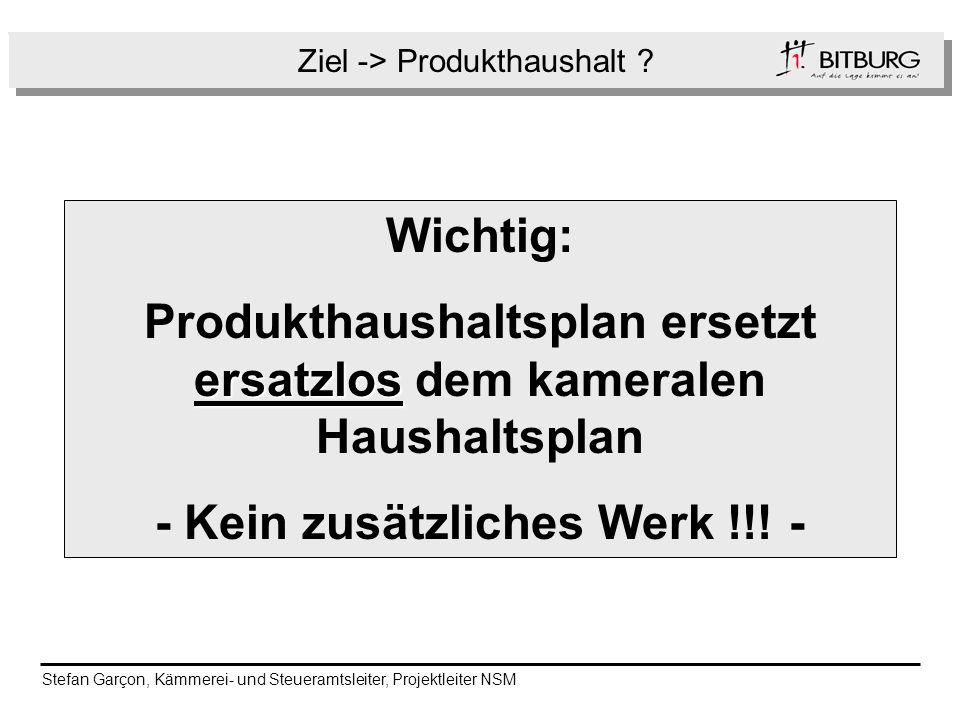 Ziel -> Produkthaushalt ? Folge Wichtig: ersatzlos Produkthaushaltsplan ersetzt ersatzlos dem kameralen Haushaltsplan - Kein zusätzliches Werk !!! - S
