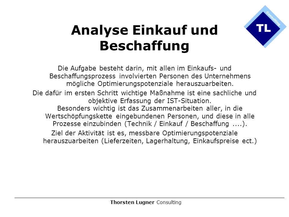 Thorsten Lugner Consulting Analyse Einkauf und Beschaffung Die Aufgabe besteht darin, mit allen im Einkaufs- und Beschaffungsprozess involvierten Pers