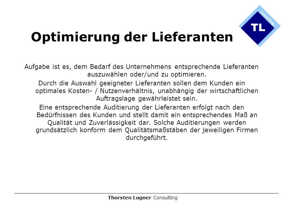 Thorsten Lugner Consulting Optimierung der Lieferanten Aufgabe ist es, dem Bedarf des Unternehmens entsprechende Lieferanten auszuwählen oder/und zu o