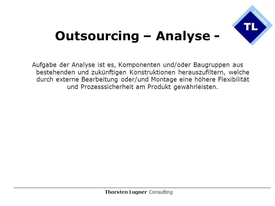Thorsten Lugner Consulting Outsourcing – Analyse - Aufgabe der Analyse ist es, Komponenten und/oder Baugruppen aus bestehenden und zukünftigen Konstru