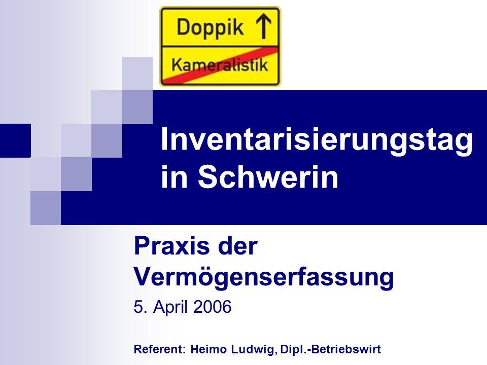 Inventarisierungstag in Schwerin Praxis der Vermögenserfassung 5. April 2006 Referent: Heimo Ludwig, Dipl.-Betriebswirt