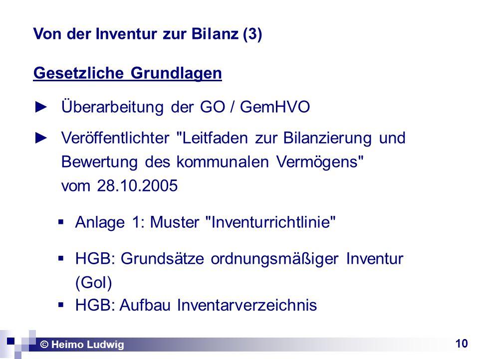 10 Gesetzliche Grundlagen Überarbeitung der GO / GemHVO © Heimo Ludwig Von der Inventur zur Bilanz (3) Veröffentlichter