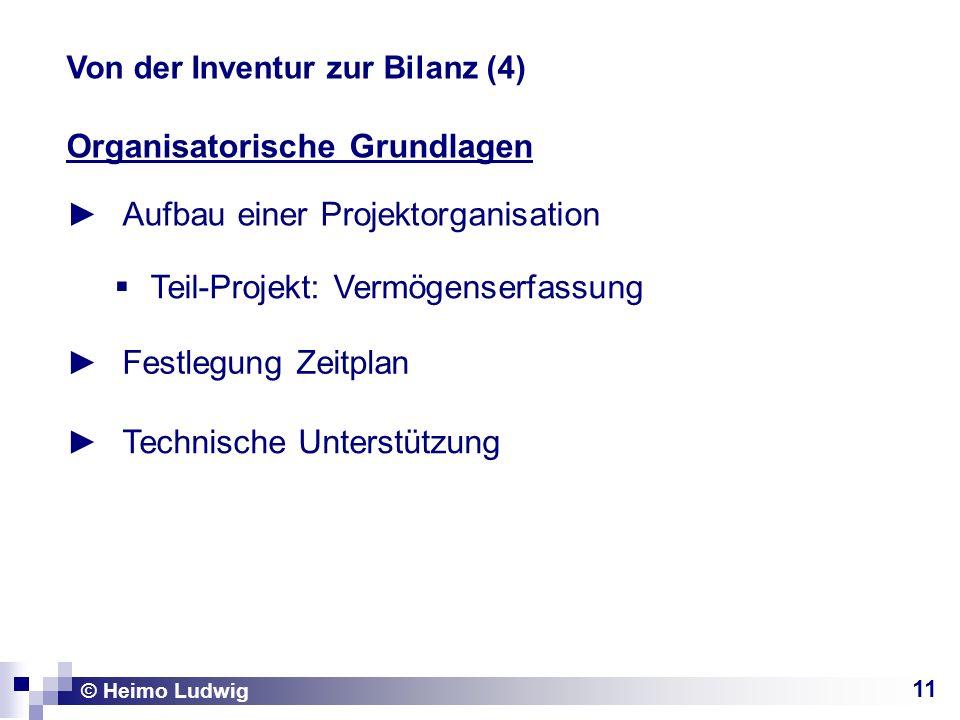 11 Organisatorische Grundlagen Aufbau einer Projektorganisation © Heimo Ludwig Von der Inventur zur Bilanz (4) Teil-Projekt: Vermögenserfassung Festlegung Zeitplan Technische Unterstützung