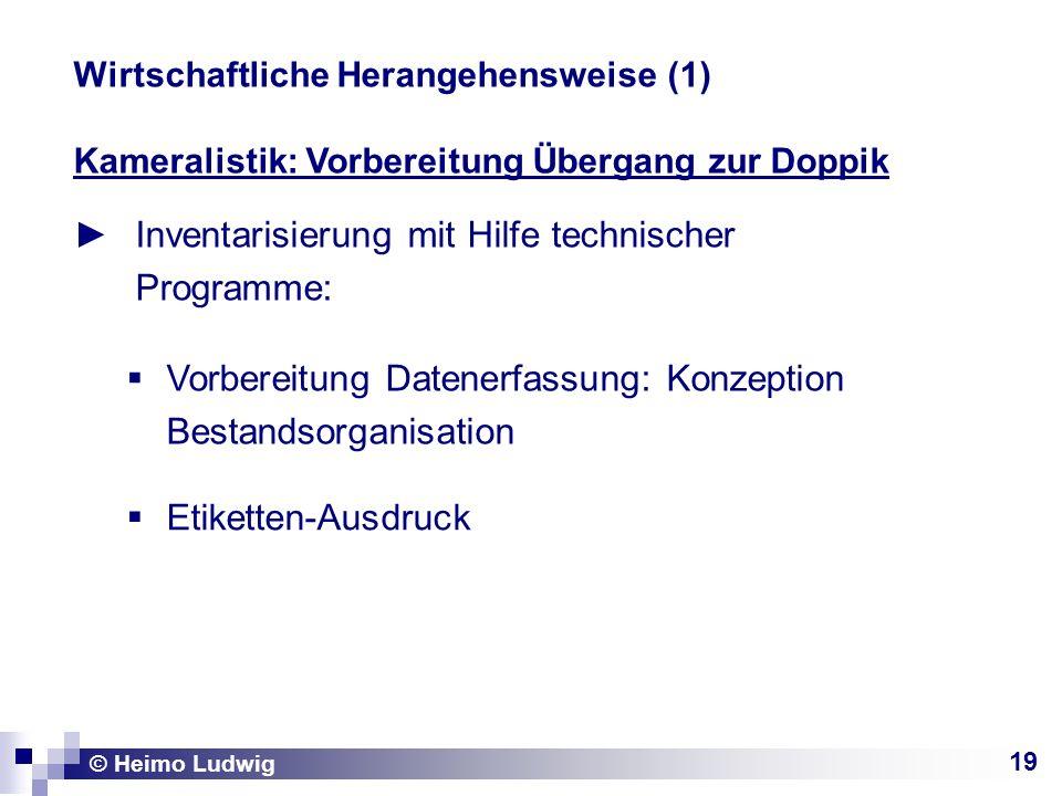 19 Kameralistik: Vorbereitung Übergang zur Doppik Inventarisierung mit Hilfe technischer Programme: © Heimo Ludwig Wirtschaftliche Herangehensweise (1