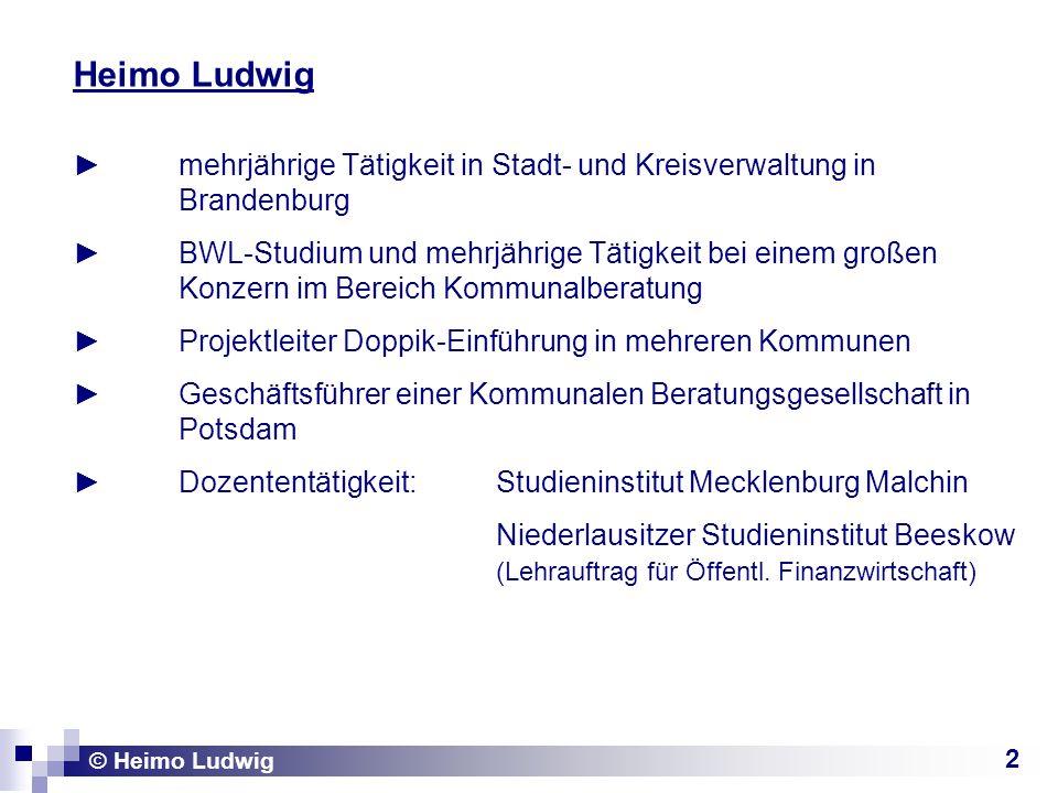 2 Heimo Ludwig mehrjährige Tätigkeit in Stadt- und Kreisverwaltung in Brandenburg BWL-Studium und mehrjährige Tätigkeit bei einem großen Konzern im Be