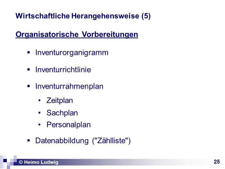 25 Organisatorische Vorbereitungen © Heimo Ludwig Wirtschaftliche Herangehensweise (5) Inventurorganigramm Inventurrichtlinie Inventurrahmenplan Zeitplan Sachplan Personalplan Datenabbildung ( Zählliste )