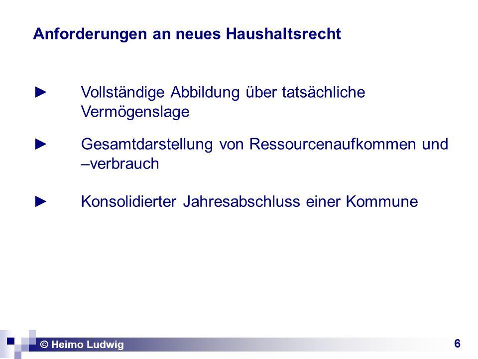 6 Anforderungen an neues Haushaltsrecht Gesamtdarstellung von Ressourcenaufkommen und –verbrauch © Heimo Ludwig Vollständige Abbildung über tatsächlic