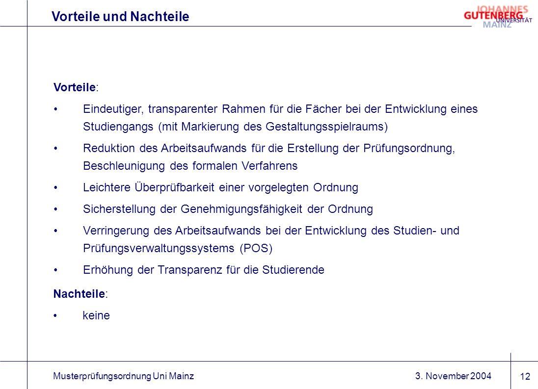 3. November 2004Musterprüfungsordnung Uni Mainz 12 Vorteile und Nachteile Vorteile: Eindeutiger, transparenter Rahmen für die Fächer bei der Entwicklu