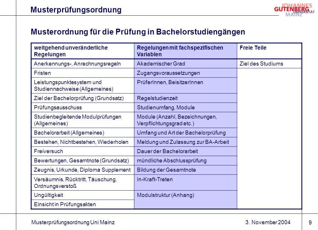 3. November 2004Musterprüfungsordnung Uni Mainz 9 Musterprüfungsordnung Musterordnung für die Prüfung in Bachelorstudiengängen weitgehend unveränderli