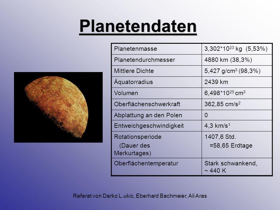 Referat von Darko L.ukic, Eberhard Bachmeier, Ali Aras Der Planet Merkur Klein, heiß und kraterübersät