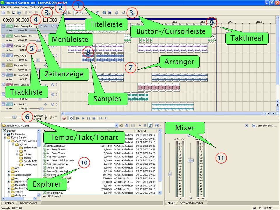 Titelleiste Button-/Cursorleiste Zeitanzeige Trackliste Tempo/Takt/Tonart Samples Mixer Explorer Arranger Menüleiste Taktlineal