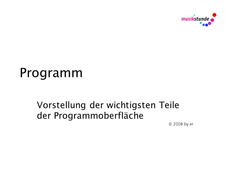 Programm Vorstellung der wichtigsten Teile der Programmoberfläche © 2008 by er