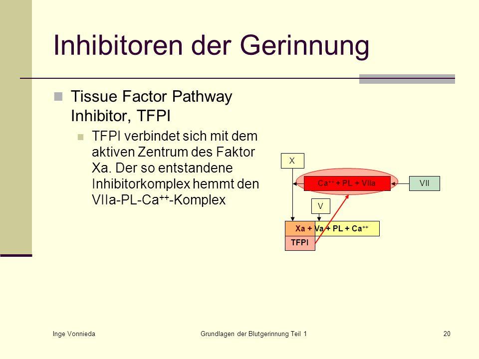 Inge Vonnieda Grundlagen der Blutgerinnung Teil 120 Inhibitoren der Gerinnung Tissue Factor Pathway Inhibitor, TFPI TFPI verbindet sich mit dem aktive