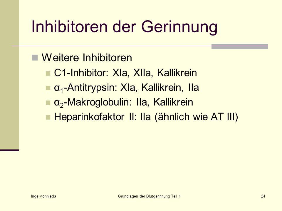 Inge Vonnieda Grundlagen der Blutgerinnung Teil 124 Inhibitoren der Gerinnung Weitere Inhibitoren C1-Inhibitor: XIa, XIIa, Kallikrein α 1 -Antitrypsin