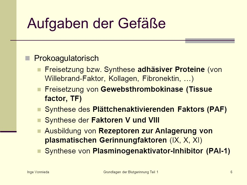 Inge Vonnieda Grundlagen der Blutgerinnung Teil 16 Aufgaben der Gefäße Prokoagulatorisch Freisetzung bzw. Synthese adhäsiver Proteine (von Willebrand-