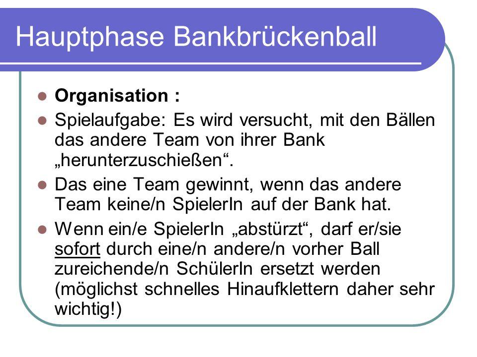 Hauptphase Bankbrückenball Organisation : Spielaufgabe: Es wird versucht, mit den Bällen das andere Team von ihrer Bank herunterzuschießen.