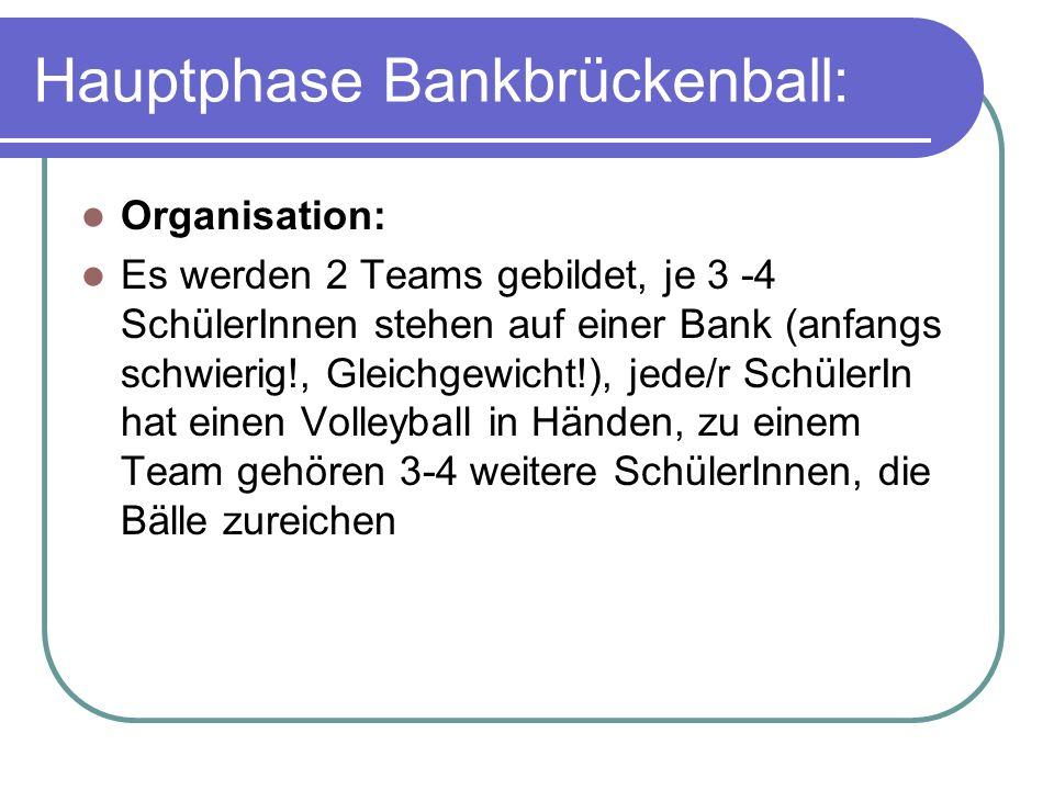 Hauptphase Bankbrückenball: Organisation: Es werden 2 Teams gebildet, je 3 -4 SchülerInnen stehen auf einer Bank (anfangs schwierig!, Gleichgewicht!), jede/r SchülerIn hat einen Volleyball in Händen, zu einem Team gehören 3-4 weitere SchülerInnen, die Bälle zureichen