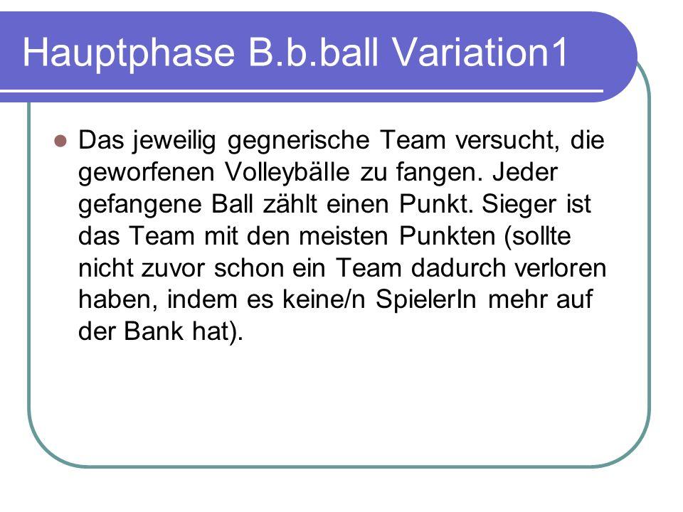 Hauptphase B.b.ball Variation1 Das jeweilig gegnerische Team versucht, die geworfenen Volleybälle zu fangen.
