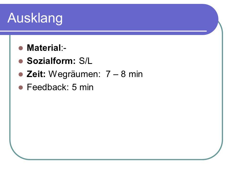 Ausklang Material:- Sozialform: S/L Zeit: Wegräumen: 7 – 8 min Feedback: 5 min