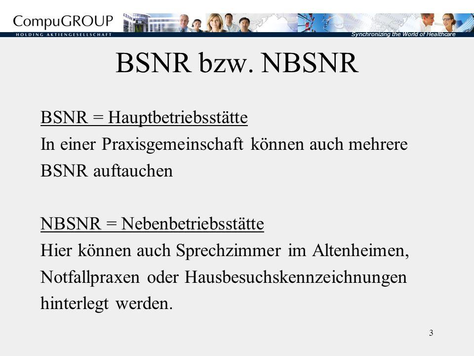 Synchronizing the World of Healthcare 4 Aufbau der (N)BSNR