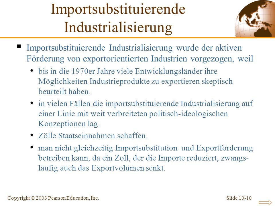 Slide 10-10Copyright © 2003 Pearson Education, Inc. Importsubstituierende Industrialisierung wurde der aktiven Förderung von exportorientierten Indust