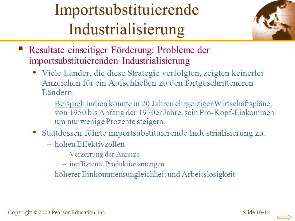 Slide 10-13Copyright © 2003 Pearson Education, Inc. Resultate einseitiger Förderung: Probleme der importsubstituierenden Industrialisierung Viele Länd