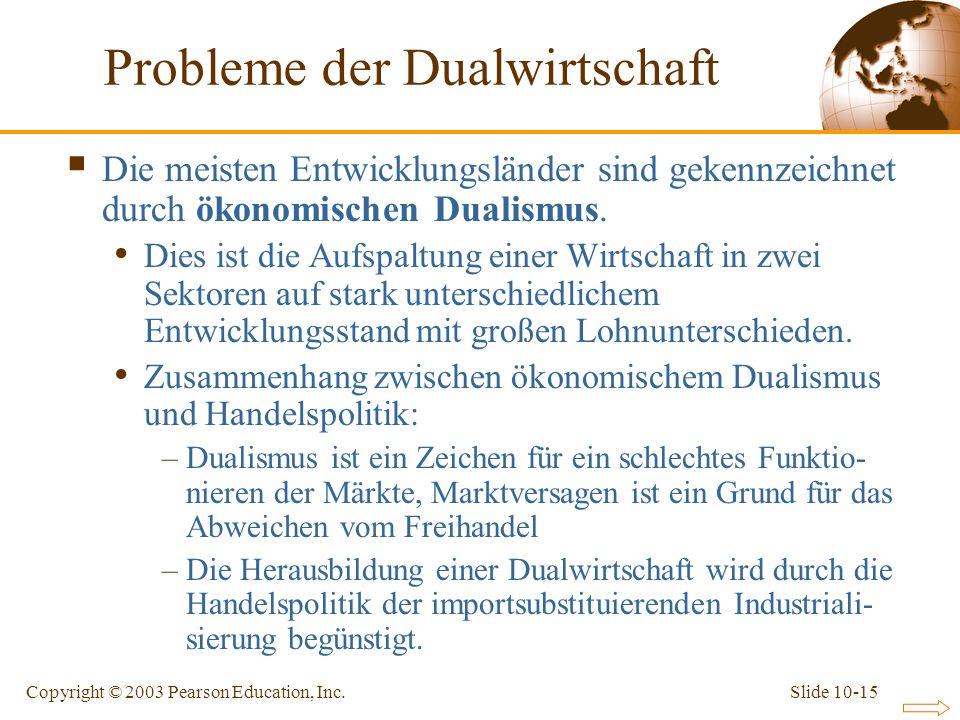 Slide 10-15Copyright © 2003 Pearson Education, Inc. Probleme der Dualwirtschaft Die meisten Entwicklungsländer sind gekennzeichnet durch ökonomischen
