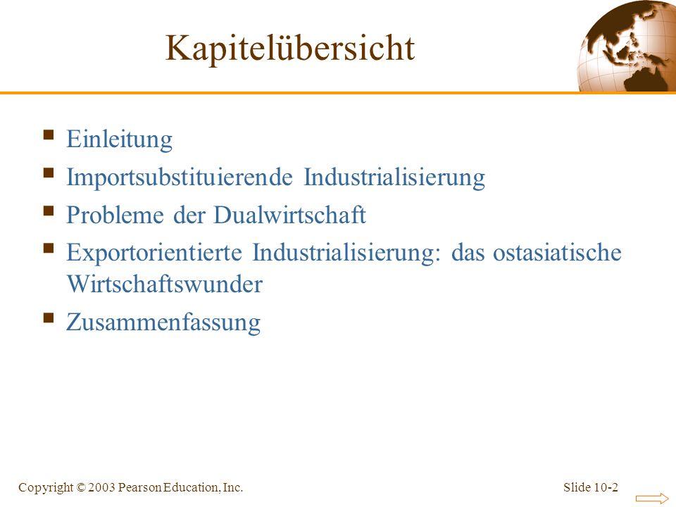Slide 10-2Copyright © 2003 Pearson Education, Inc. Kapitelübersicht Einleitung Importsubstituierende Industrialisierung Probleme der Dualwirtschaft Ex
