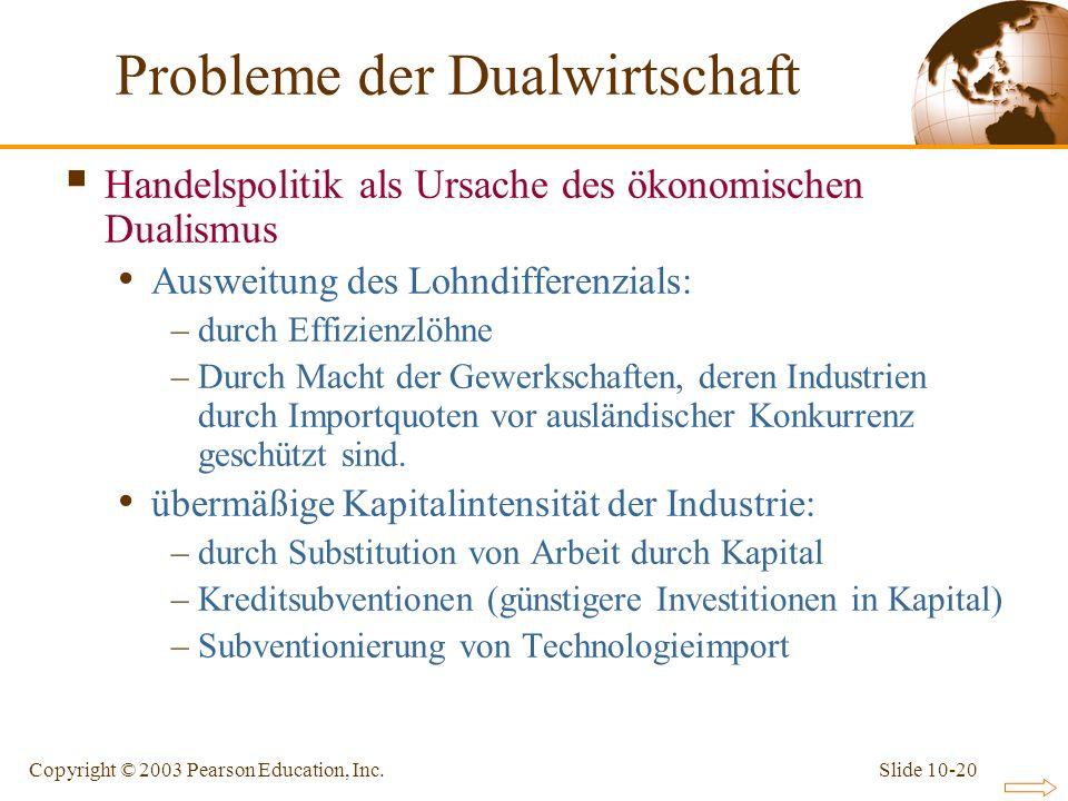 Slide 10-20Copyright © 2003 Pearson Education, Inc. Handelspolitik als Ursache des ökonomischen Dualismus Ausweitung des Lohndifferenzials: –durch Eff