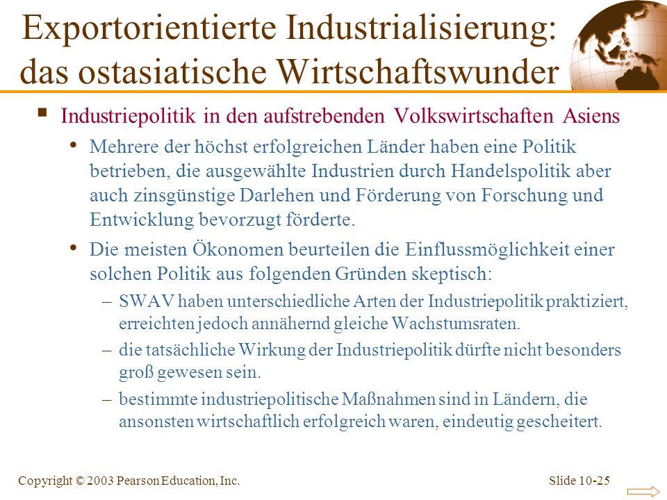 Slide 10-25Copyright © 2003 Pearson Education, Inc. Industriepolitik in den aufstrebenden Volkswirtschaften Asiens Mehrere der höchst erfolgreichen Lä
