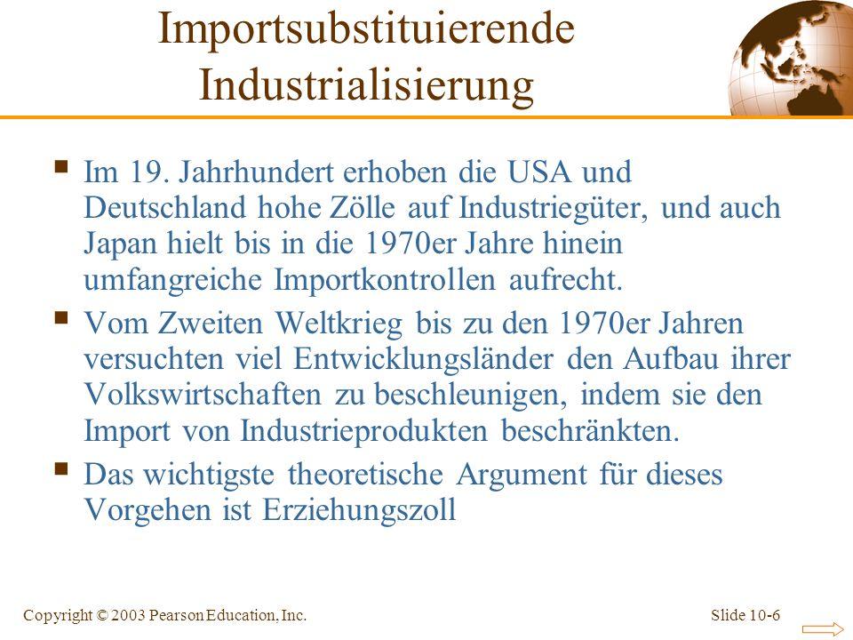 Slide 10-6Copyright © 2003 Pearson Education, Inc. Im 19. Jahrhundert erhoben die USA und Deutschland hohe Zölle auf Industriegüter, und auch Japan hi