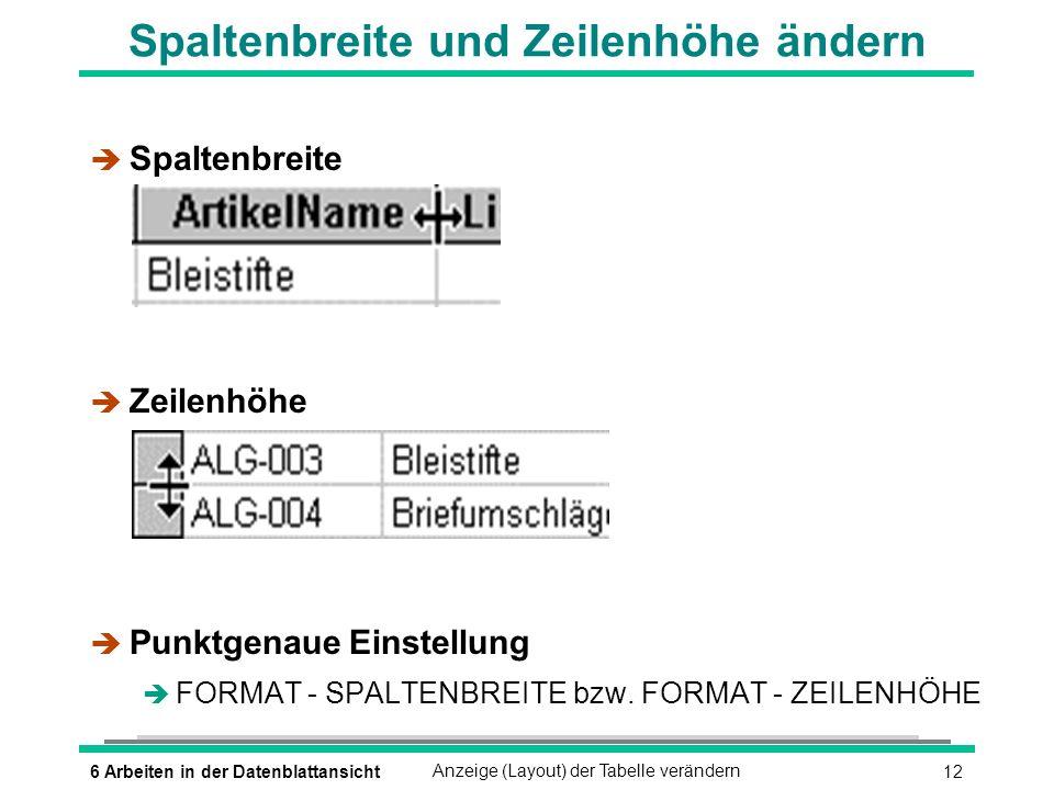 136 Arbeiten in der DatenblattansichtAnzeige (Layout) der Tabelle verändern Zoom-Fenster öffnen è Feld aktivieren (ª_UMSCHALTEN)(F2) Inhalt des Feldes