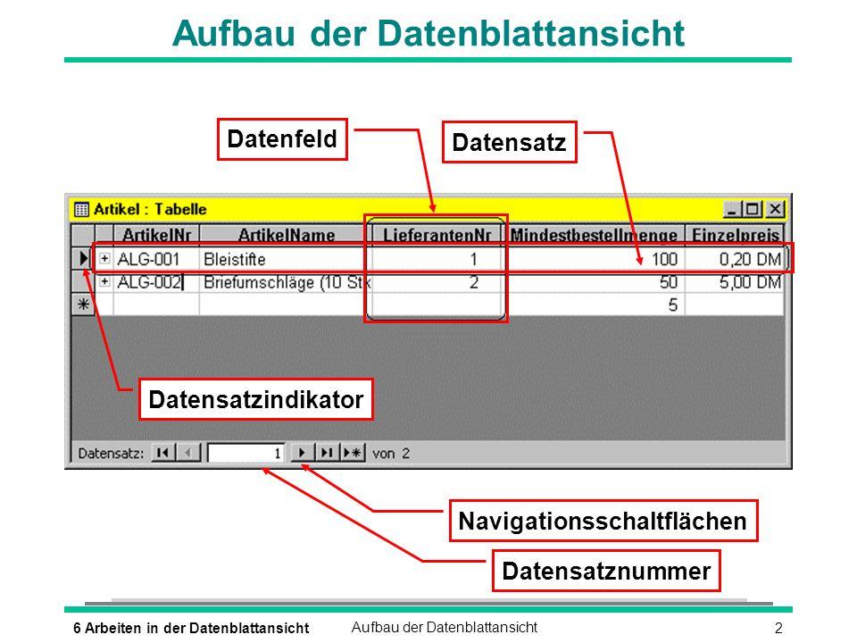 36 Arbeiten in der DatenblattansichtAufbau der Datenblattansicht Bewegen in der Datenblattansicht (ÿ_) (ª_UMSCHALTEN)(ÿ_) (POS_1) (ENDE) (¼) (½) (STRG)(POS_1) (STRG)(ENDE) (¼BILD) (½BILD) (F2) oder è Cursorsteuerung mit der Maus è Nächstes Feld è Vorheriges Feld è Erstes Feld des Datensatzes è Letztes Feld des Datensatzes è Gleiches Feld im nächsten Datensatz è Gleiches Feld im vorherigen Datensatz è Erstes Feld im ersten Datensatz è Letztes Feld im letzten Datensatz è Fensterseite nach oben bzw.