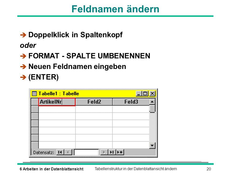 216 Arbeiten in der DatenblattansichtTabellenstruktur in der Datenblattansicht ändern Felder hinzufügen è Spalte vor der einzufügenden Spalte markieren è EINFÜGEN - SPALTE oder è Kontextmenü: SPALTE EINFÜGEN è Namen vergeben