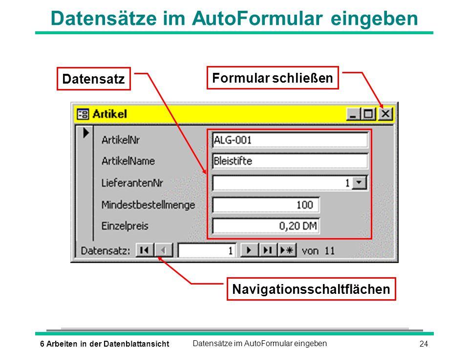 246 Arbeiten in der DatenblattansichtDatensätze im AutoFormular eingeben Datensatz Navigationsschaltflächen Formular schließen