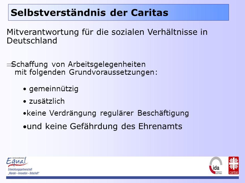 Selbstverständnis der Caritas Mitverantwortung für die sozialen Verhältnisse in Deutschland Schaffung von Arbeitsgelegenheiten mit folgenden Grundvoraussetzungen: gemeinnützig zusätzlich keine Verdrängung regulärer Beschäftigung und keine Gefährdung des Ehrenamts
