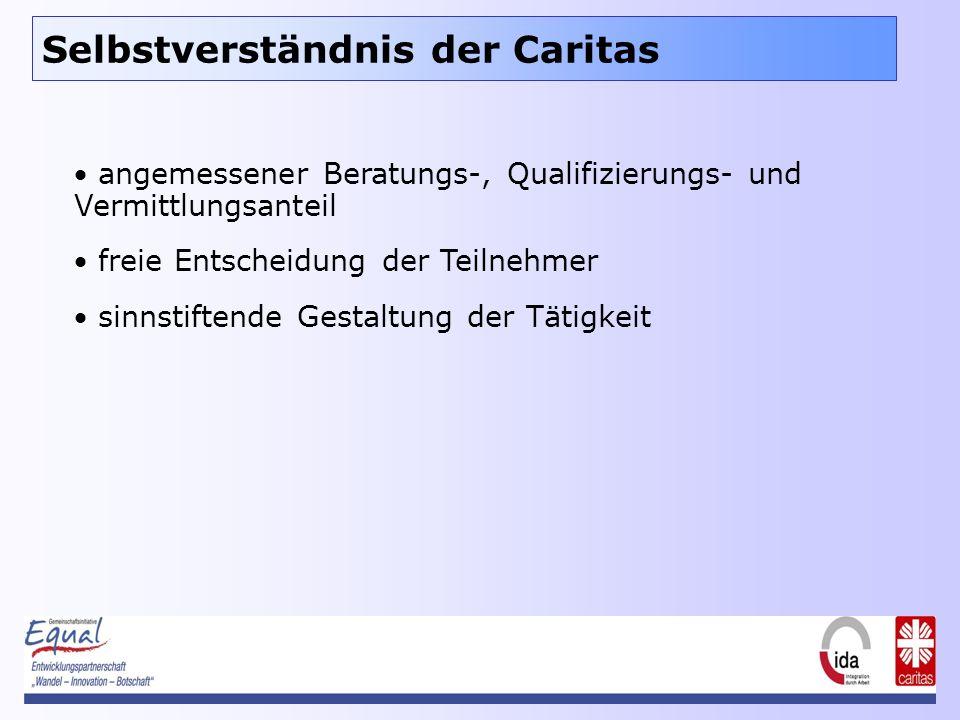 Selbstverständnis der Caritas angemessener Beratungs-, Qualifizierungs- und Vermittlungsanteil freie Entscheidung der Teilnehmer sinnstiftende Gestaltung der Tätigkeit