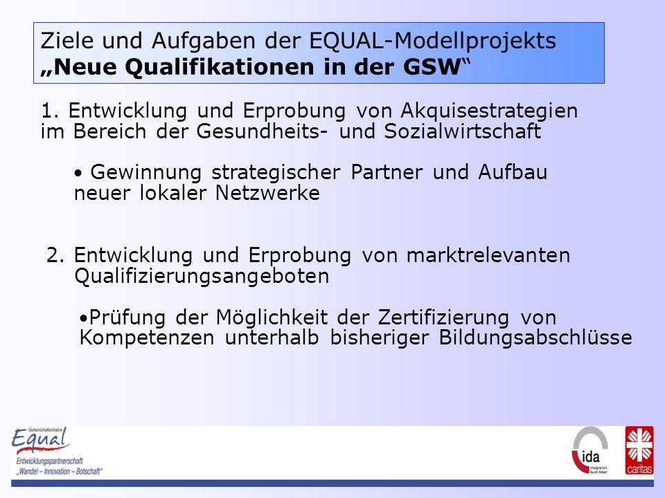 Ziele und Aufgaben der EQUAL-ModellprojektsNeue Qualifikationen in der GSW 1.