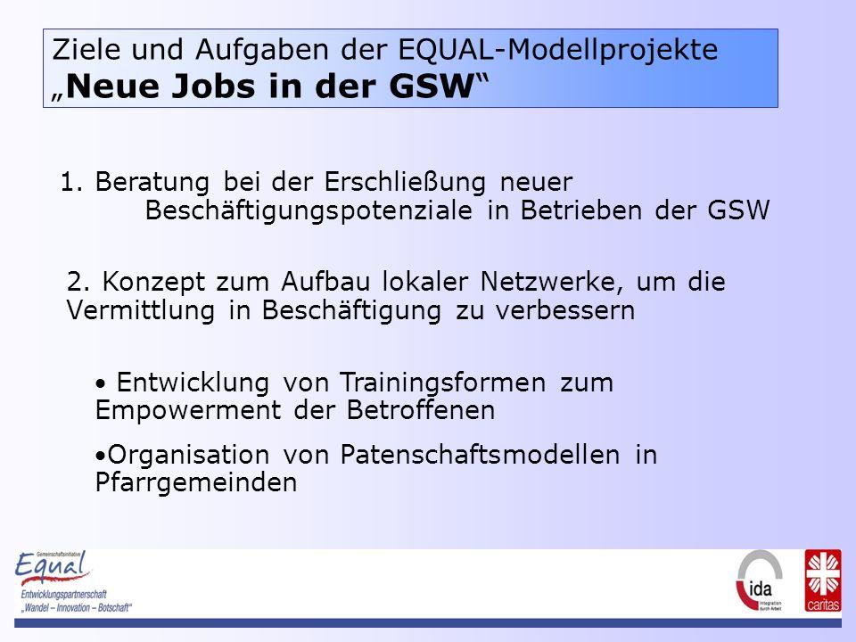 Ziele und Aufgaben der EQUAL-Modellprojekte Neue Jobs in der GSW 1.