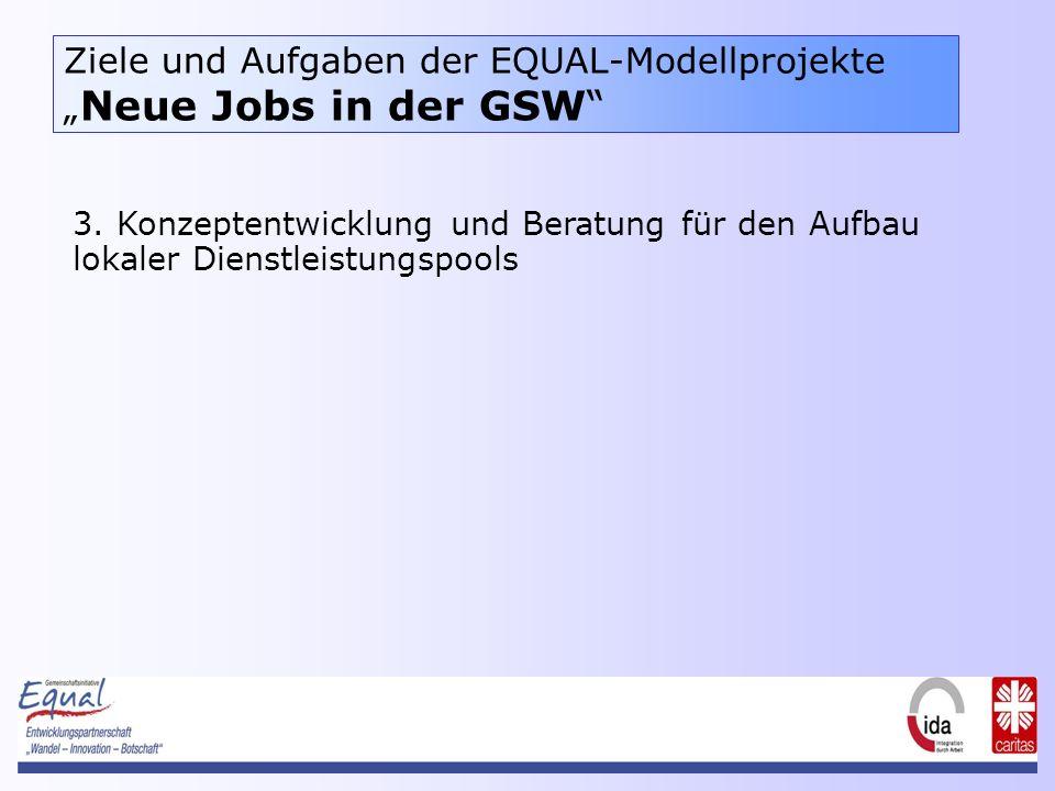 Ziele und Aufgaben der EQUAL-Modellprojekte Neue Jobs in der GSW 3.