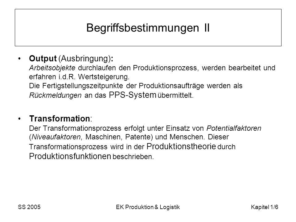 SS 2005EK Produktion & LogistikKapitel 1/7 Begriffsbestimmungen III Fertigungstiefe: Anzahl der Wertsteigerungsstufen eines Erzeugnisses, die in einem Betrieb realisiert werden Arbeitsteilung: Wertschöpfungsprozess Rohstoff Endprodukt üblicherweise nicht in einer Firma internationale Arbeitsteilung: z.B.
